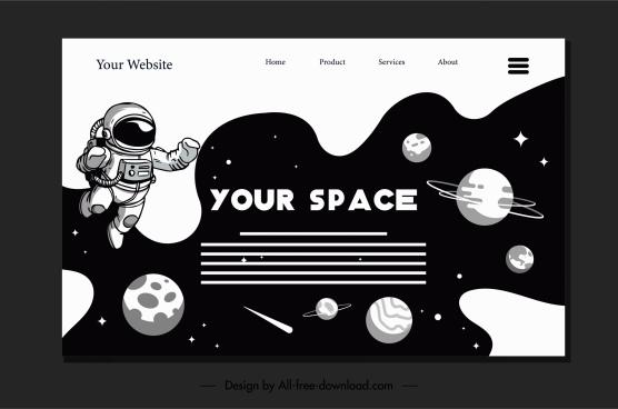 space homepage template black white universe elements decor