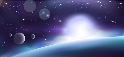 space object backgrounds vector set
