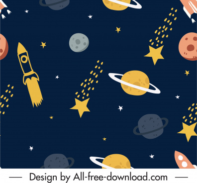 space pattern planets rockets sketch colored flat design