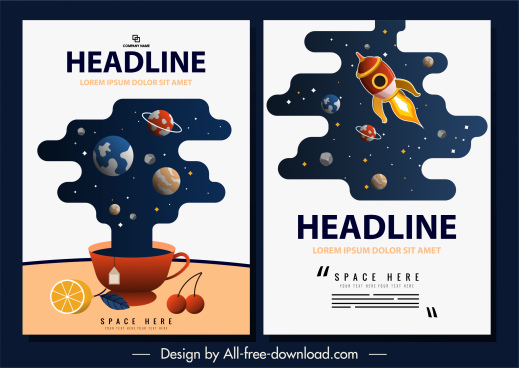space poster templates colorful planets spaceships decor