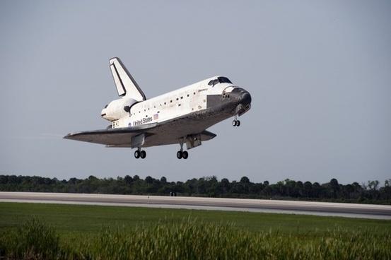 space shuttle start land