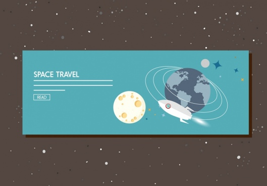 space travel banner planets spaceship ornament webpage manner