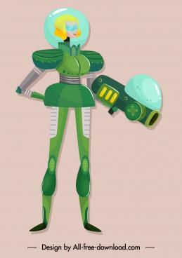 space warrior icon woman sketch modern armor
