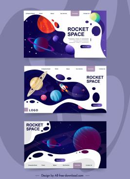 space website templates colorful universe elements decor