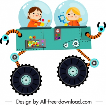 spaceman icon modern equipment decor cartoon characters