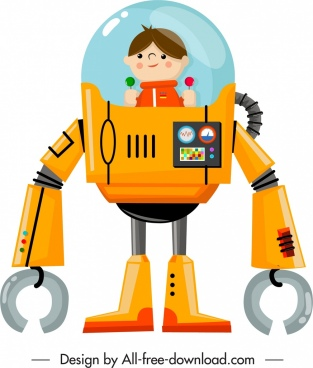 spaceman robot icon colored cartoon design