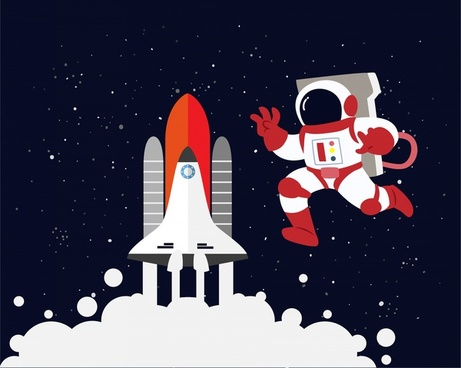spaceship and astronaut vector design