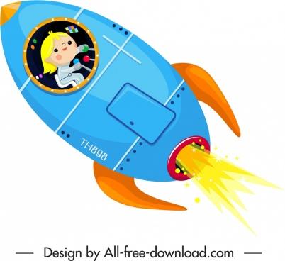 spaceship icon colorful contemporary design cartoon sketch
