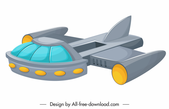 spaceship icon modern 3d colored sketch
