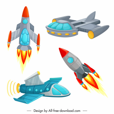 spaceship icons colorful modern design
