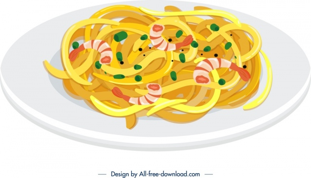 spaghetti breakfast icon colorful 3d design