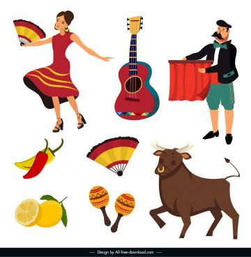 spain design elements costume sport music culinary sketch