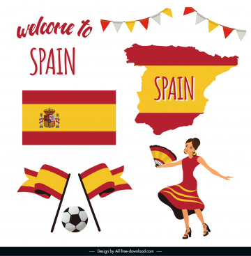 spain design elements flag map costume football sketch