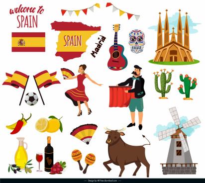 spain design elements national symbols sketch