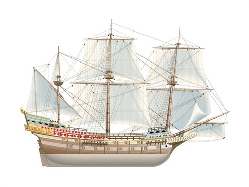 ancient sailboat model vector illustration