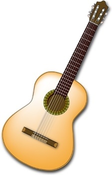 spanish guitar realistic vector illustration