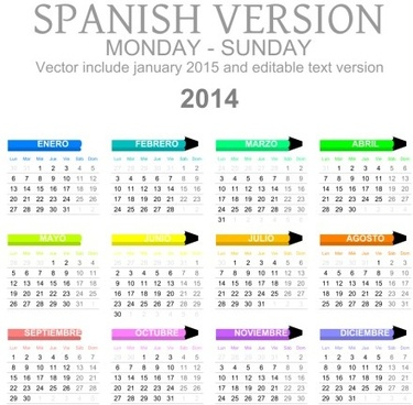 spanish version calendar14 vector