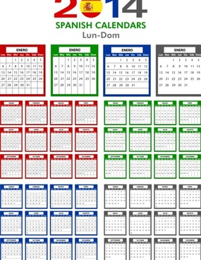spanish version calendar14 vector