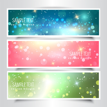 sparkle dazzling bokeh background vector headers collection