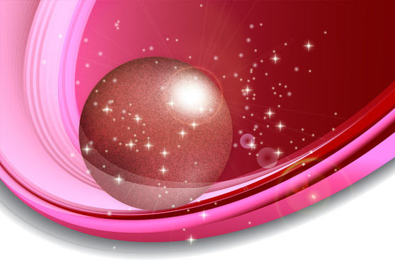 sparkle pink background with sphere and curved orbit