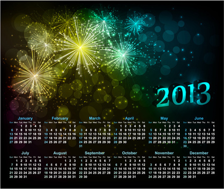 sparkling black style calendars13 vector
