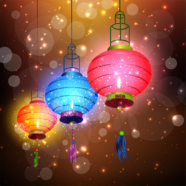 sparkling chinese lantern background