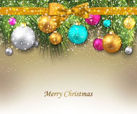 sparkling christmas background with knot and balls