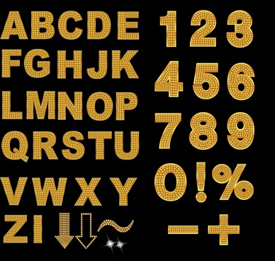 education background flat golden digits alphabets decor