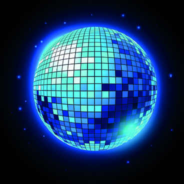 sparkling disco neon light ball background vector