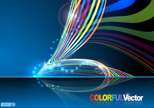 sparkling lines backgrounds vector set
