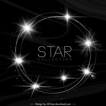 sparkling stars background circle layout dark design