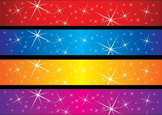decorative background sets colorful sparkling horizontal design