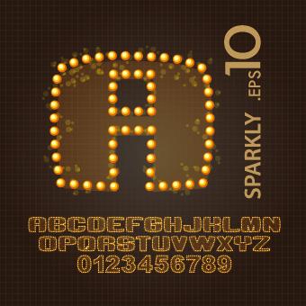 sparkly alphabet font design vector