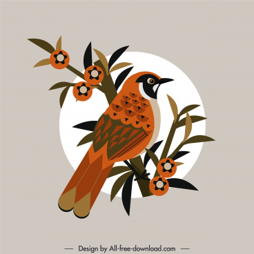 sparrow bird painting colored retro design