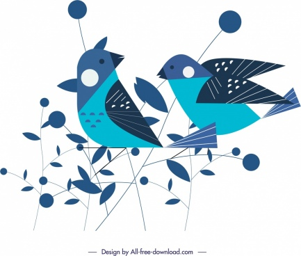 sparrow birds painting classical flat blue sketch