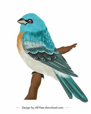 sparrow icon blue decor classical perching sketch