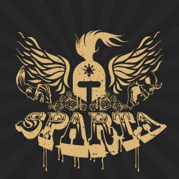 sparta banner 3d retro texts helmet wings icons