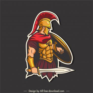 spartan warrior icon elegant colored sketch