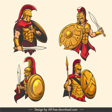 spartan warrior icons elegant design cartoon character sketch