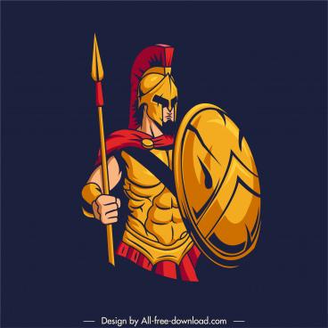 spartan warrior tattoo icon colored classic sketch