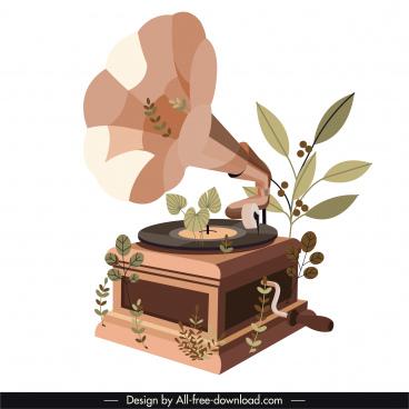 speaker icon vintage design leaves decor