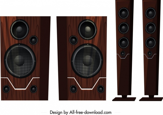 speaker icons templates elegant brown wooden realistic design