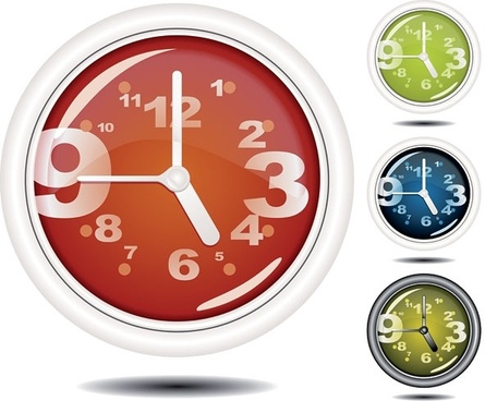 round clock icons modern colored design stylized numbers