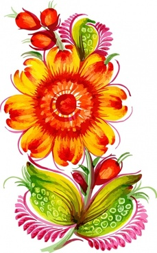 flower painting classical colorful handdrawn sketch