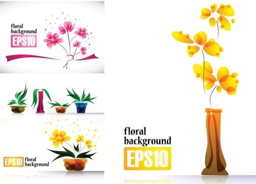special plant flowers decorations vector