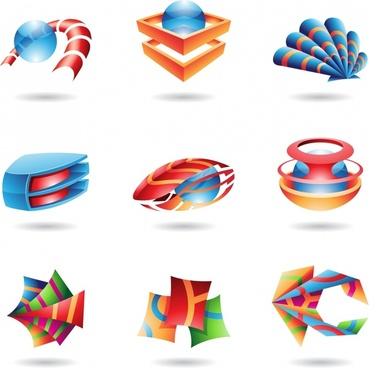 digital icons templates modern colored 3d sketch