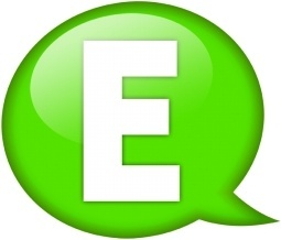 Speech balloon green e
