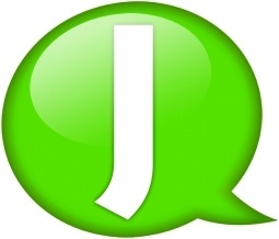 Speech balloon green j
