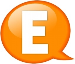 Speech balloon orange e