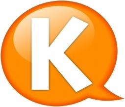 Speech balloon orange k